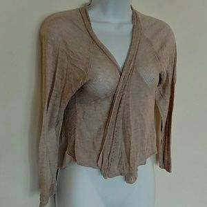 Light weight tan cardigan with crochet details
